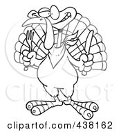 Royalty Free RF Clip Art Illustration Of A Cartoon Black And White Outline Design Of A Turkey Bird Holding A Knife And Fork
