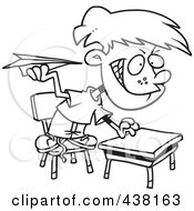 Royalty Free RF Clip Art Illustration Of A Cartoon Black And White Outline Design Of A Mischievous School Boy Throwing Paper Planes In Class