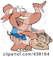 Royalty Free RF Clip Art Illustration Of A Cartoon Halloween Elephant Holding A Trunk Or Treat Bag by toonaday