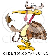 Royalty Free RF Clip Art Illustration Of A Cartoon Turkey Bird Disguised As A Bull by toonaday