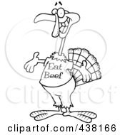 Royalty Free RF Clip Art Illustration Of A Cartoon Black And White Outline Design Of A Turkey Bird Wearing An Eat Beef Shirt