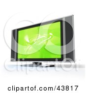 Clipart Illustration Of A Green Screen Saver On A Flat Panel LCD Television With Built In Speakers