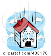 Royalty Free RF Clipart Illustration Of A Scared House Falling Over Blue Sky