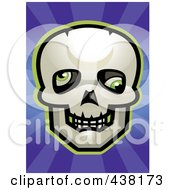 Royalty Free RF Clipart Illustration Of A Skull With Rolled Eyes Over Purple