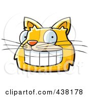 Royalty Free RF Clipart Illustration Of A Grinning Orange Cat Face by Cory Thoman