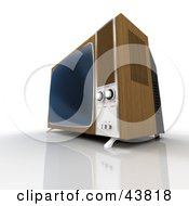 Clipart Illustration Of An Old Wood Paneled Box Television