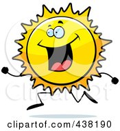 Royalty Free RF Clipart Illustration Of A Sun Character Running by Cory Thoman