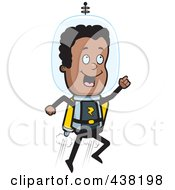 Royalty Free RF Clipart Illustration Of A Black Space Ranger Using A Jetpack