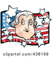 Royalty Free RF Clipart Illustration Of A George Washington Over An American Flag by Cory Thoman