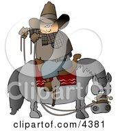 Cowboy Sitting On Horse Saddle Wrong While Holding Reins