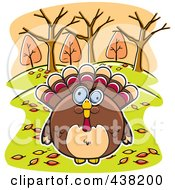 Royalty Free RF Clipart Illustration Of A Turkey Bird Surrounded By Autumn Leaves by Cory Thoman