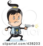 Royalty Free RF Clipart Illustration Of A Space Ranger Girl Using A Ray Gun