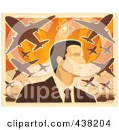 Royalty Free RF Clipart Illustration Of A Mans Profile Under War Planes