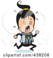 Royalty Free RF Clipart Illustration Of A Scared Space Ranger Girl Running