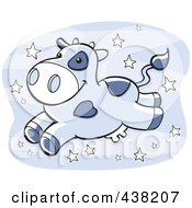 Royalty Free RF Clipart Illustration Of A White Milk Cow Leaping Over Stars