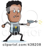 Royalty Free RF Clipart Illustration Of A Black Space Ranger Using A Ray Gun