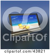 Clipart Illustration Of A Beach Screen Saver On A Flat Panel LCD Television