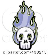 Royalty Free RF Clipart Illustration Of A Skull With Purple Flames