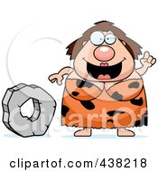 Plump Cave Woman With A Stone Wheel