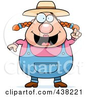 Royalty Free RF Clipart Illustration Of A Plump Female Farmer With An Idea by Cory Thoman