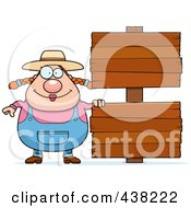 Royalty Free RF Clipart Illustration Of A Plump Female Farmer Standing By Blank Signs by Cory Thoman