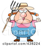 Royalty Free RF Clipart Illustration Of A Plump Female Farmer With A Pitchfork by Cory Thoman