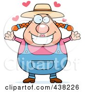 Royalty Free RF Clipart Illustration Of A Plump Female Farmer With Open Arms by Cory Thoman