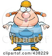 Royalty Free RF Clipart Illustration Of A Plump Female Builder