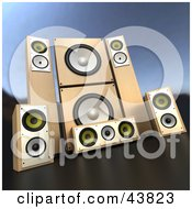 Clipart Illustration Of A Set Of Wooden Sound System Speakers