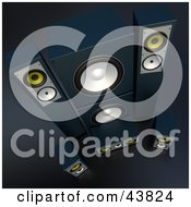 Clipart Illustration Of Black Stereo Sound System Speakers