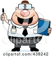 Royalty Free RF Clipart Illustration Of A Plump Nerdy Businessman Holding A Pen And Notebook by Cory Thoman