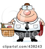 Royalty Free RF Clipart Illustration Of A Plump Nerdy Businessman Carrying A Picnic Basket by Cory Thoman
