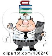 Plump Nerdy Businessman Balancing Books On His Head