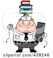 Royalty Free RF Clipart Illustration Of A Plump Nerdy Businessman Balancing Books On His Head by Cory Thoman