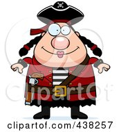 Royalty Free RF Clipart Illustration Of A Plump Female Pirate by Cory Thoman
