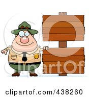 Royalty Free RF Clipart Illustration Of A Plump Male Forest Ranger With Blank Signs by Cory Thoman