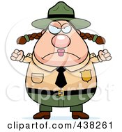 Royalty Free RF Clipart Illustration Of A Plump Female Forest Ranger Waving Her Fists by Cory Thoman