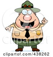 Royalty Free RF Clipart Illustration Of A Plump Male Forest Ranger With An Idea by Cory Thoman