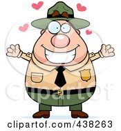 Royalty Free RF Clipart Illustration Of A Plump Male Forest Ranger With Open Arms by Cory Thoman