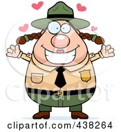 Royalty Free RF Clipart Illustration Of A Plump Female Forest Ranger With Open Arms by Cory Thoman