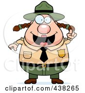 Royalty Free RF Clipart Illustration Of A Plump Female Forest Ranger With An Idea by Cory Thoman