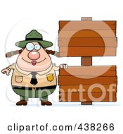 Royalty Free RF Clipart Illustration Of A Plump Female Forest Ranger With Blank Signs by Cory Thoman