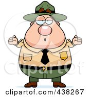 Royalty Free RF Clipart Illustration Of A Careless Plump Male Forest Ranger Shrugging by Cory Thoman