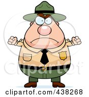 Royalty Free RF Clipart Illustration Of A Plump Male Forest Ranger Waving His Fists by Cory Thoman