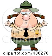 Royalty Free RF Clipart Illustration Of A Careless Plump Female Forest Ranger Shrugging by Cory Thoman