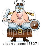 Royalty Free RF Clipart Illustration Of A Mad Plump Female Viking Holding A Sword by Cory Thoman