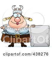 Royalty Free RF Clipart Illustration Of A Plump Female Viking With A Stone Tablet
