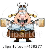 Royalty Free RF Clipart Illustration Of A Plump Female Viking Holding Beer