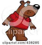 Royalty Free RF Clipart Illustration Of A Bear Wearing A Red Shirt And Walking Upright by Cory Thoman