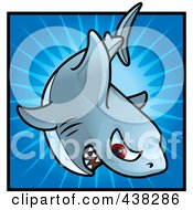 Royalty Free RF Clipart Illustration Of A Tough Shark Over A Blue Burst by Cory Thoman
